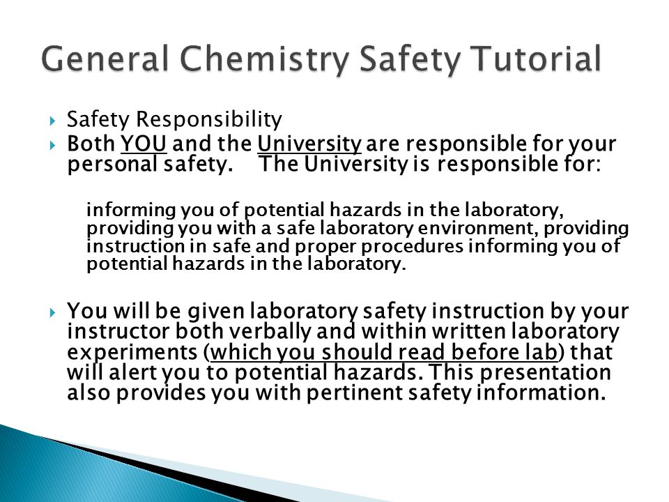 General Chemistry Safety Tutorial