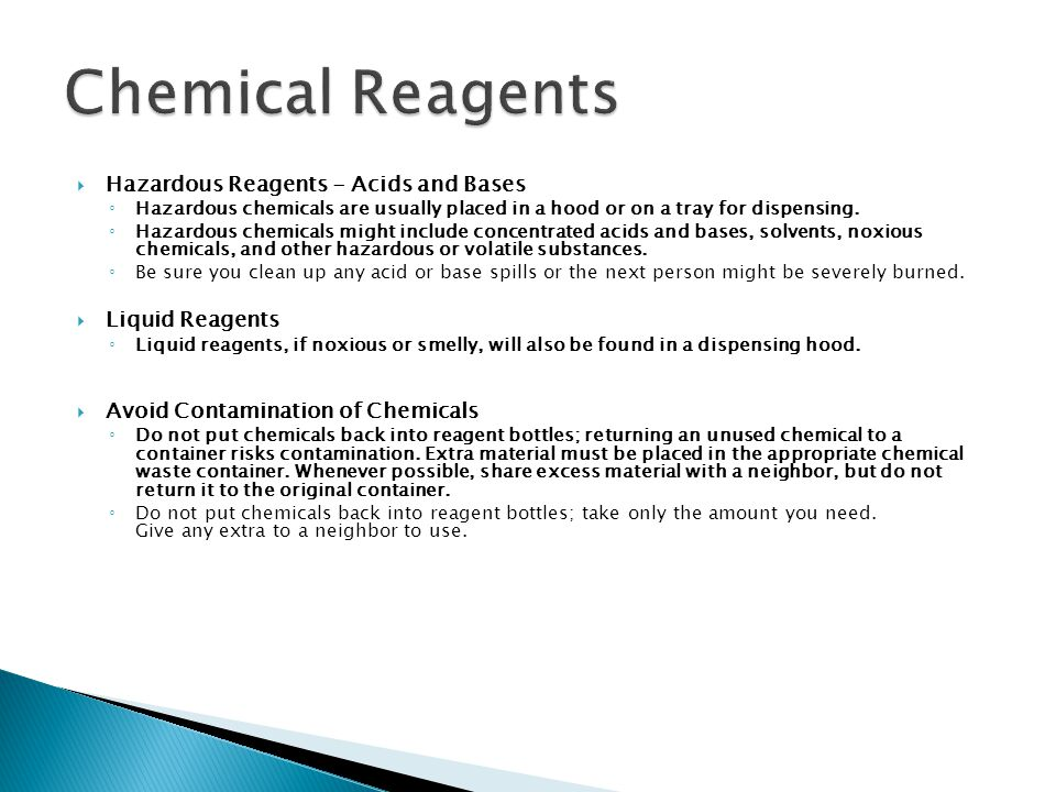 Chemical Reagents Hazardous Reagents - Acids and Bases Liquid Reagents