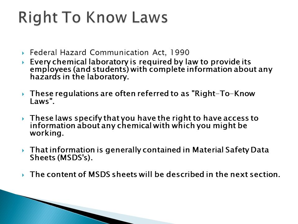 Right To Know Laws Federal Hazard Communication Act, 1990