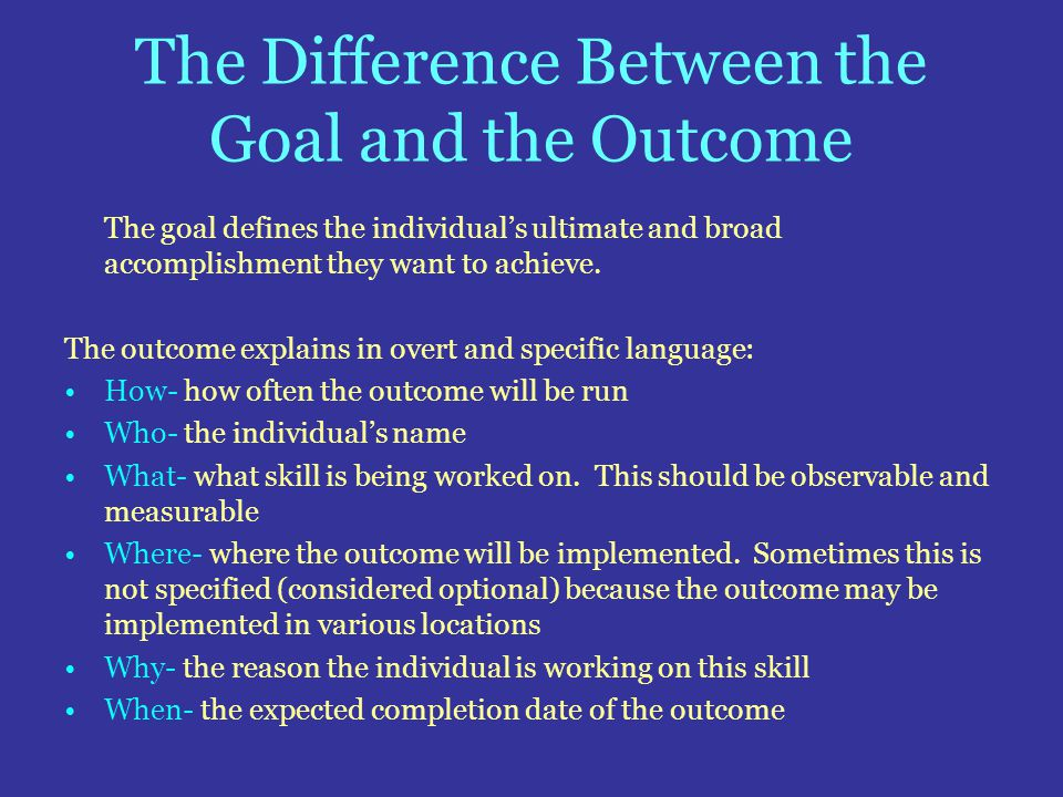 The Difference Between the Goal and the Outcome