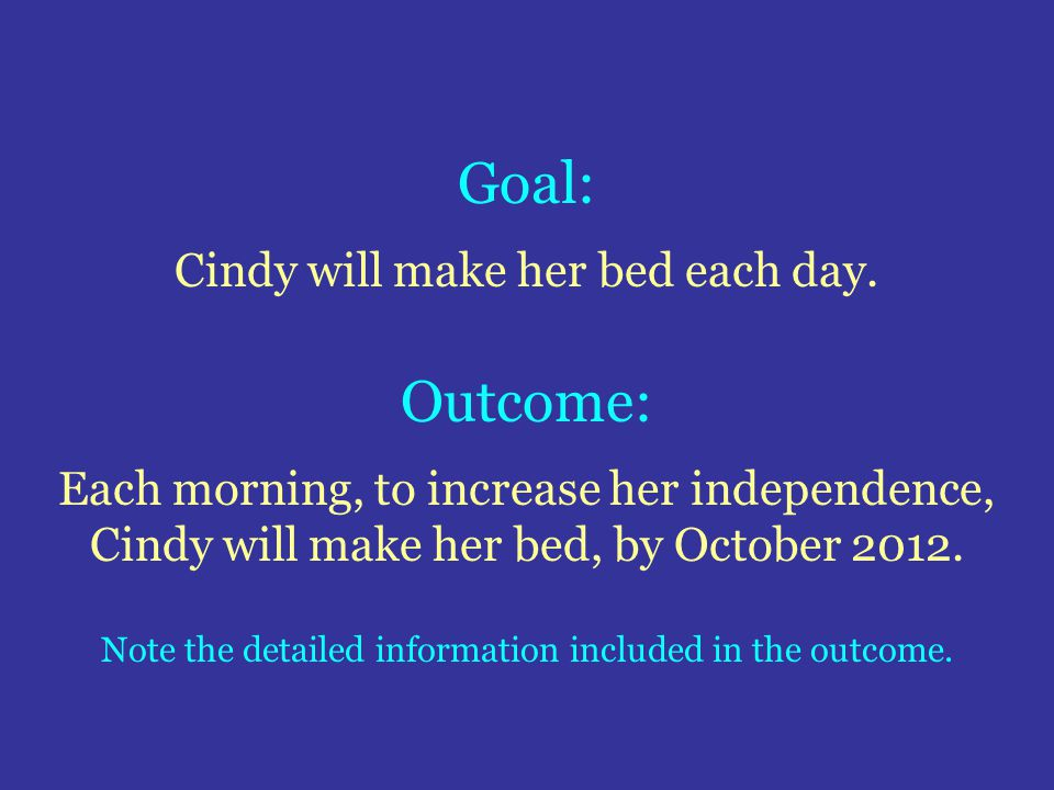Goal: Outcome: Cindy will make her bed each day.