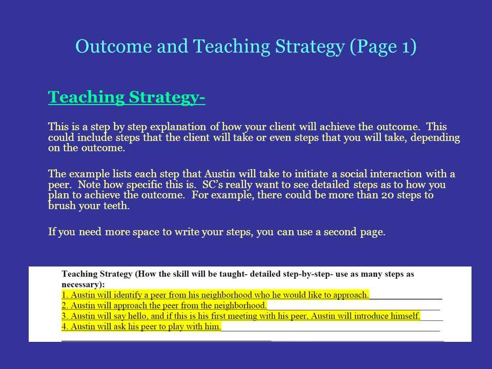 Outcome and Teaching Strategy (Page 1)