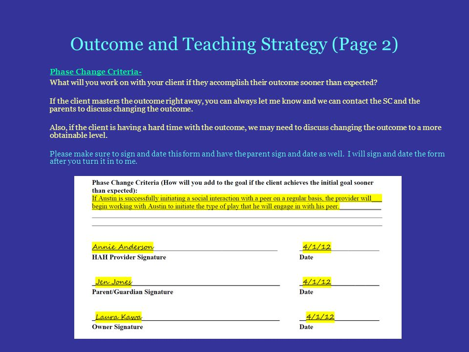 Outcome and Teaching Strategy (Page 2)