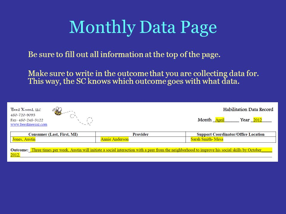 Monthly Data Page