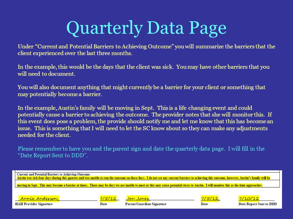 Quarterly Data Page