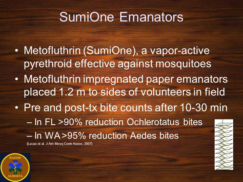 SumiOne Emanators Metofluthrin (SumiOne), a vapor-active pyrethroid effective against mosquitoes.