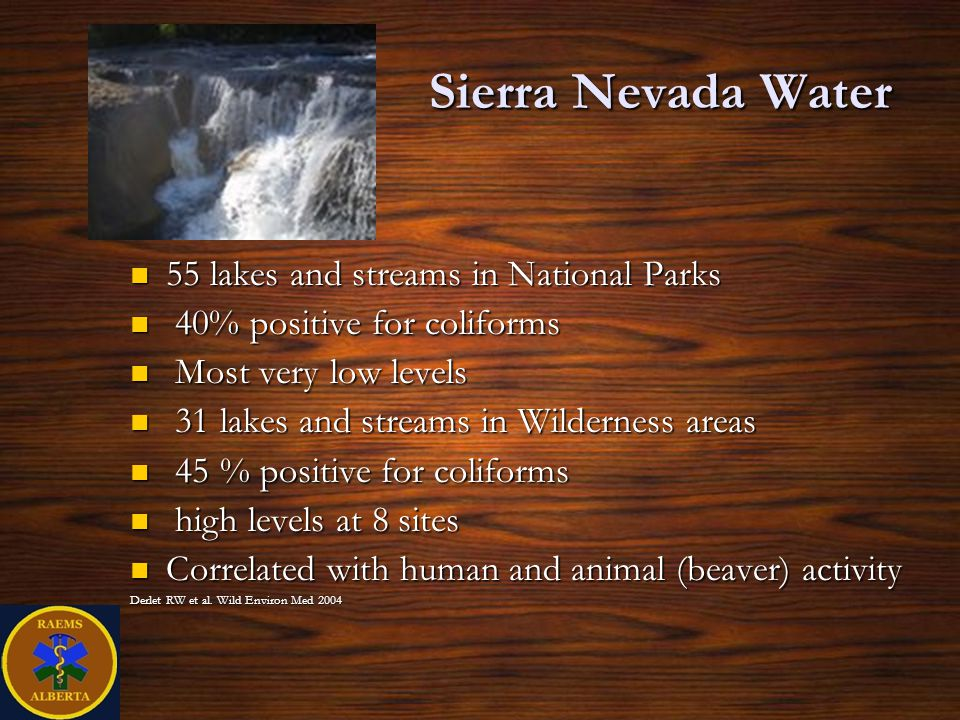 Sierra Nevada Water 55 lakes and streams in National Parks