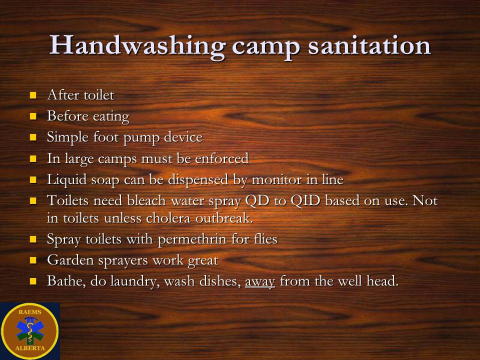 Handwashing camp sanitation