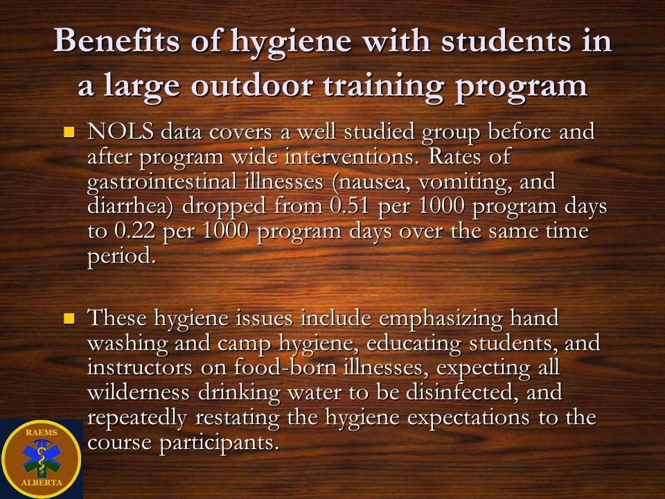 Benefits of hygiene with students in a large outdoor training program