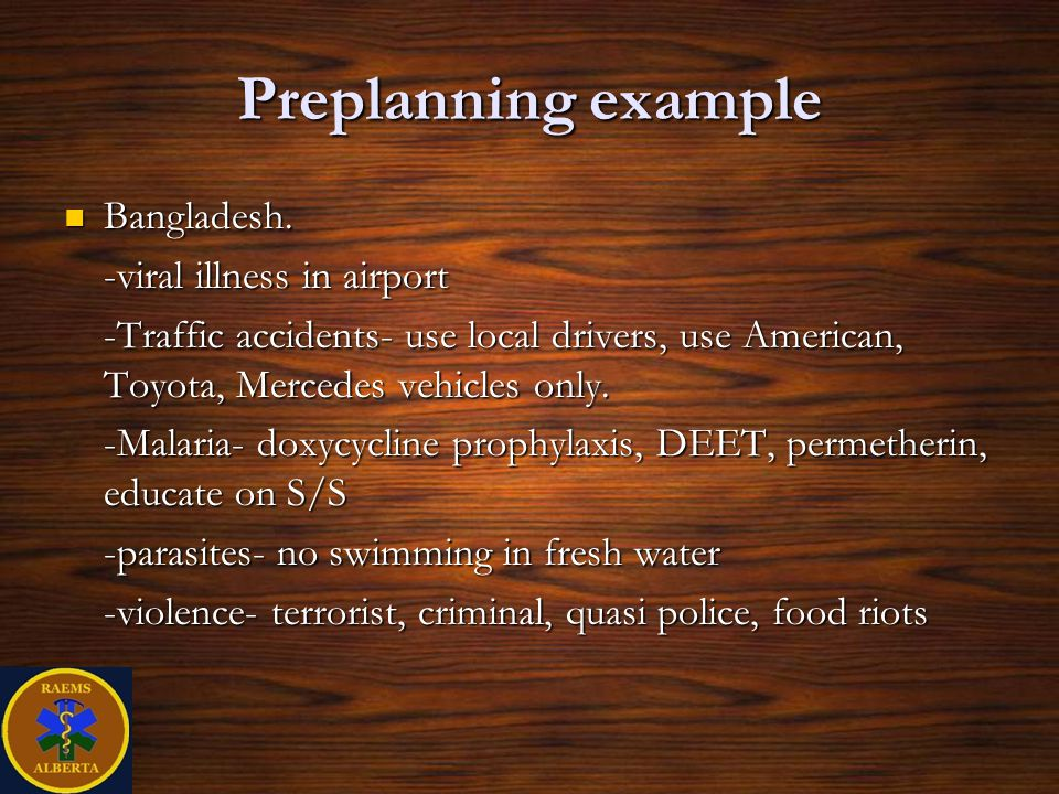 Preplanning example Bangladesh. -viral illness in airport