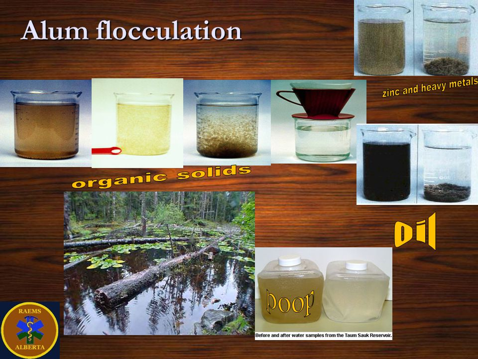 Alum flocculation zinc and heavy metals organic solids oil poop