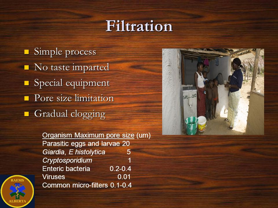 Filtration Simple process No taste imparted Special equipment