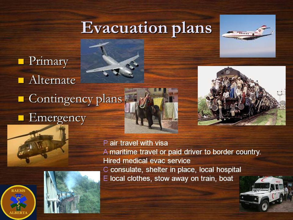 Evacuation plans Primary Alternate Contingency plans Emergency