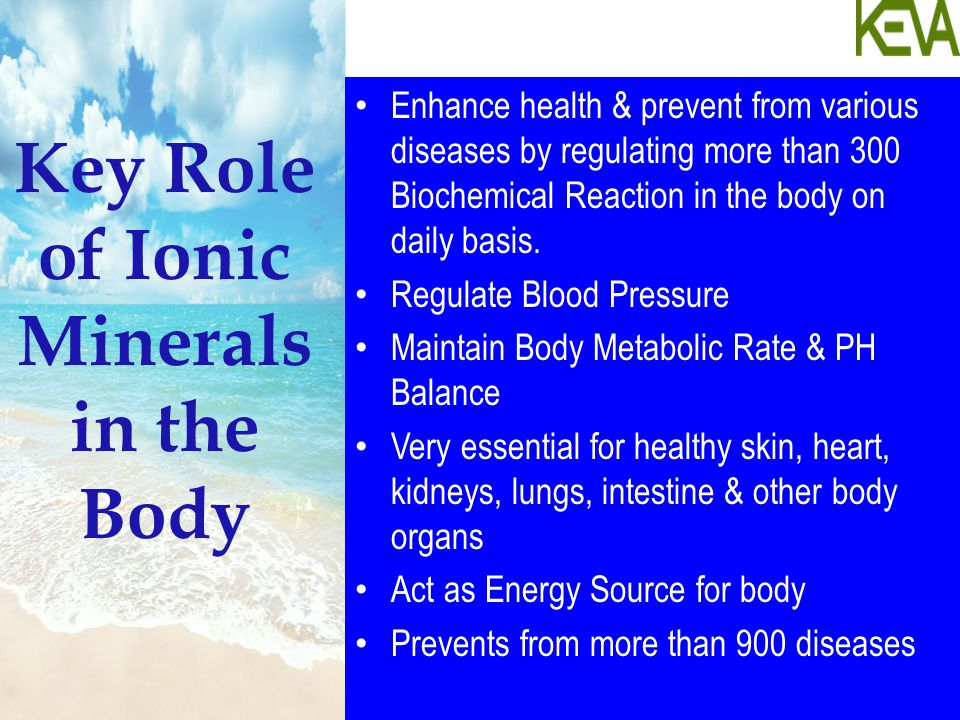 Key Role of Ionic Minerals in the Body