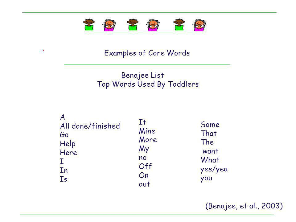 . Examples of Core Words. Benajee List. Top Words Used By Toddlers. A. All done/finished. Go. Help.