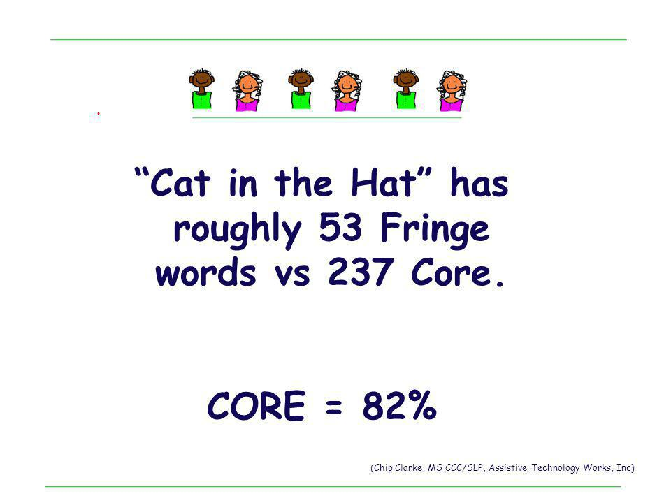 Cat in the Hat has roughly 53 Fringe words vs 237 Core.