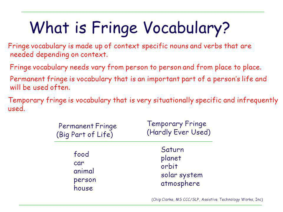What is Fringe Vocabulary