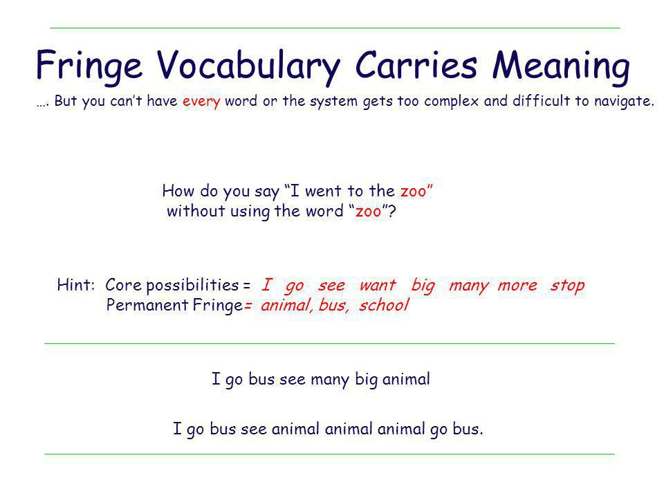 Fringe Vocabulary Carries Meaning