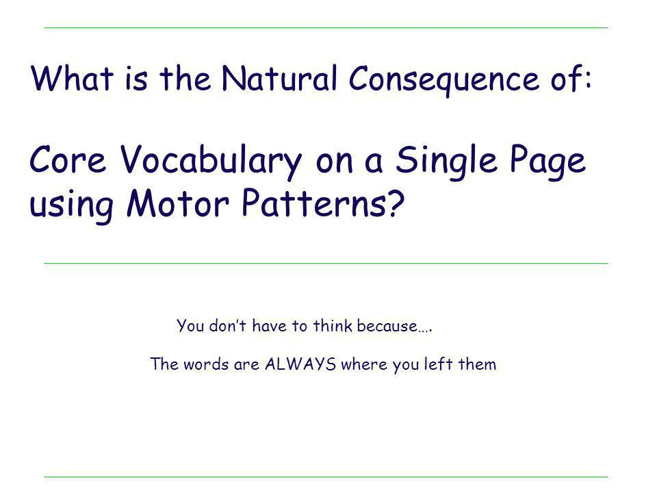 Core Vocabulary on a Single Page using Motor Patterns