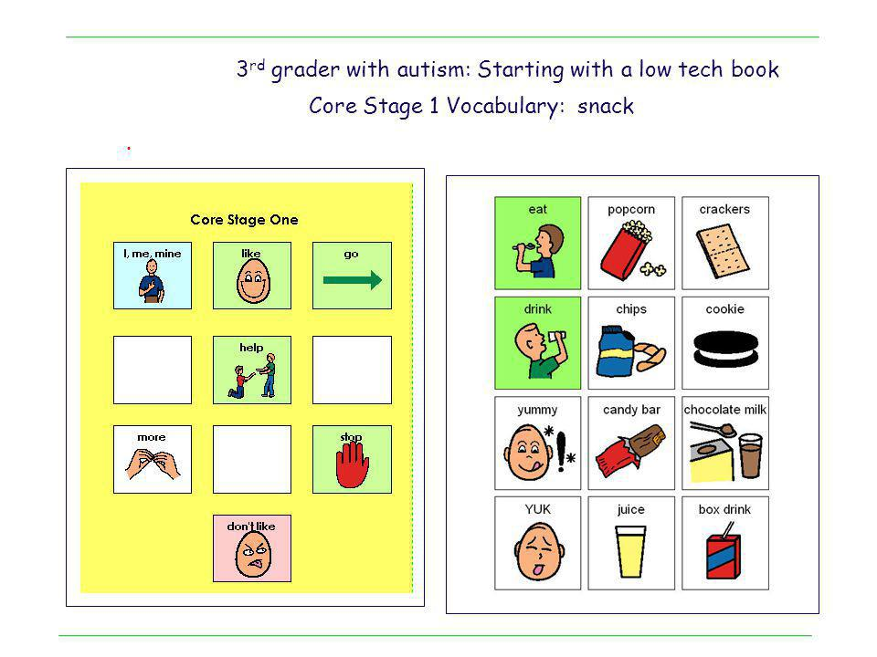 3rd grader with autism: Starting with a low tech book