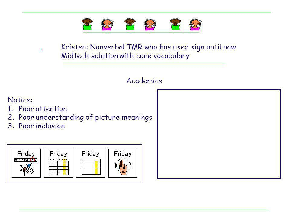 . Kristen: Nonverbal TMR who has used sign until now. Midtech solution with core vocabulary. Academics.