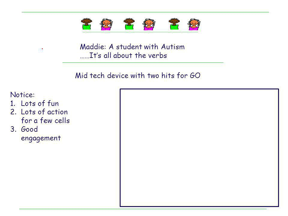 . Maddie: A student with Autism. ……It's all about the verbs. Mid tech device with two hits for GO.