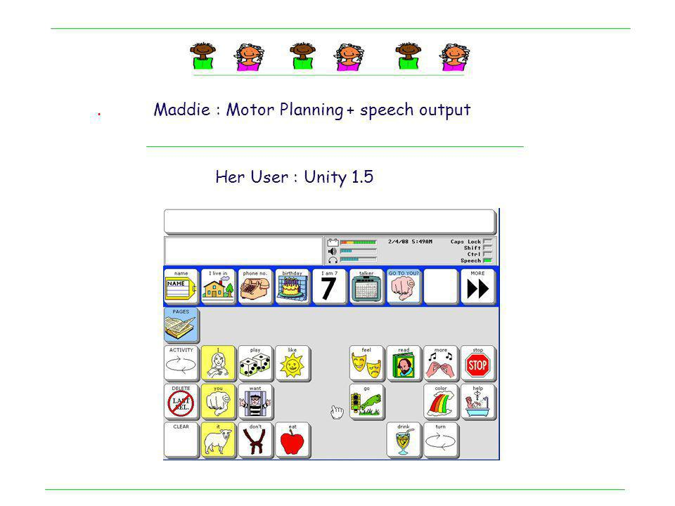 . Maddie : Motor Planning + speech output Her User : Unity 1.5