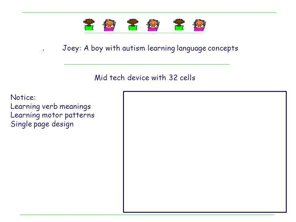 . Joey: A boy with autism learning language concepts. Mid tech device with 32 cells. Notice: Learning verb meanings.