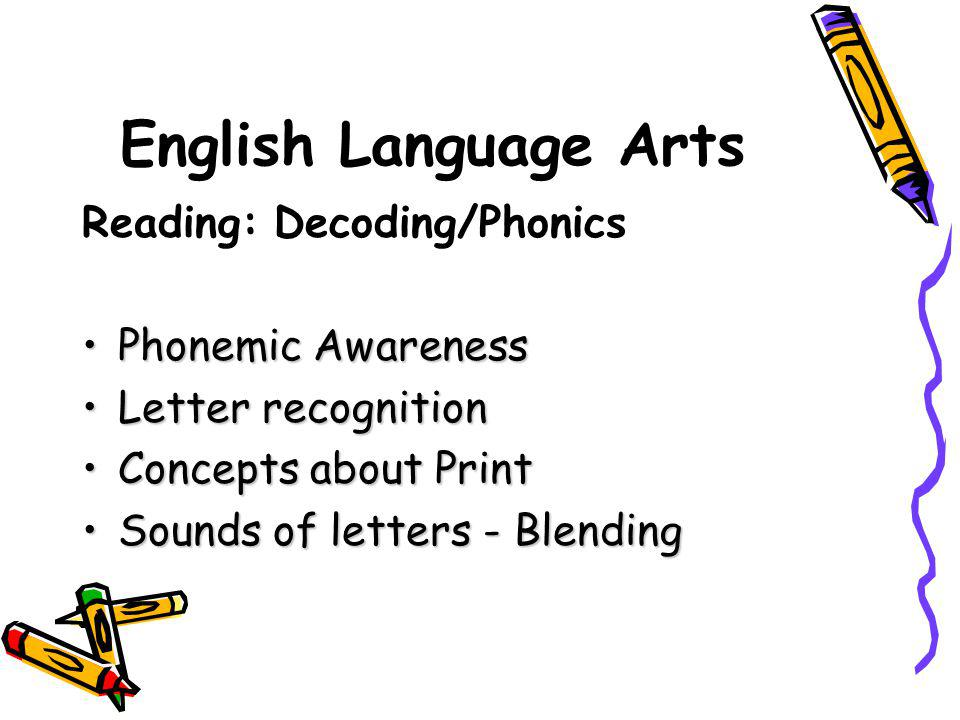 English Language Arts Reading: Decoding/Phonics Phonemic Awareness