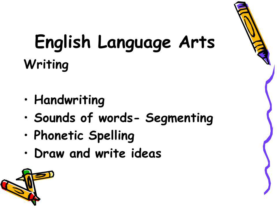 English Language Arts Writing Handwriting Sounds of words- Segmenting