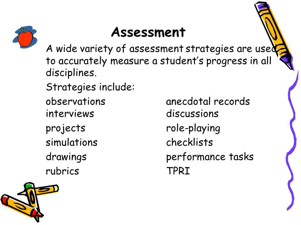 Assessment Strategies include: