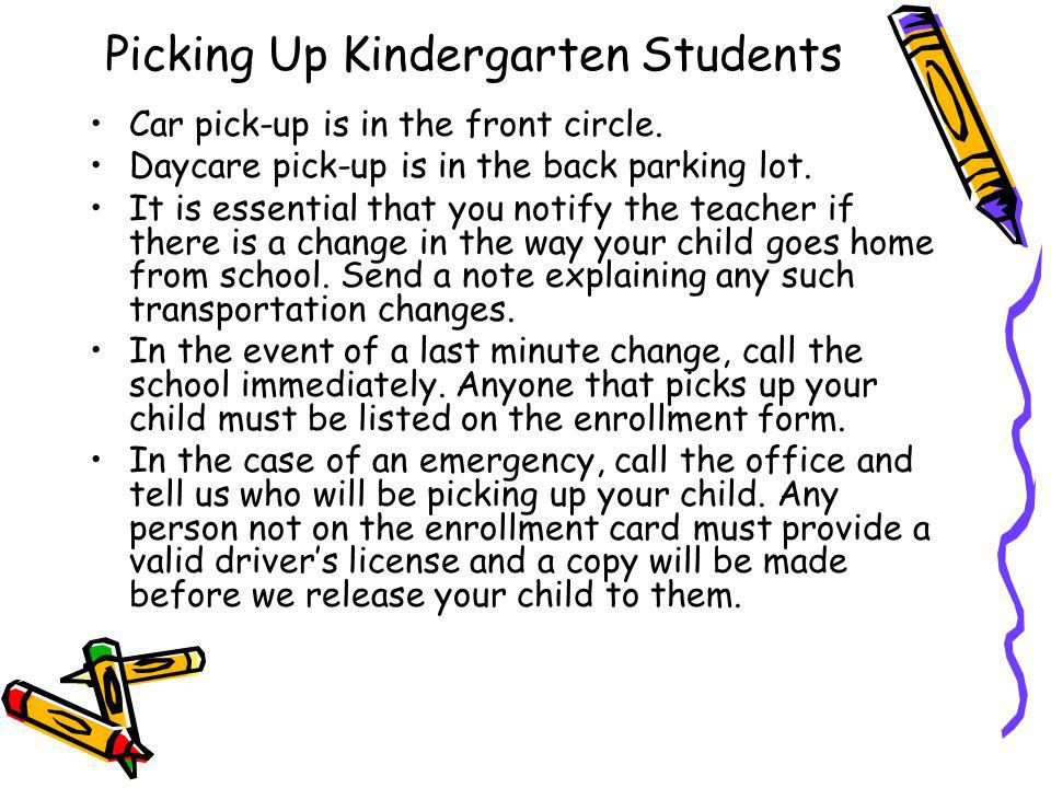 Picking Up Kindergarten Students