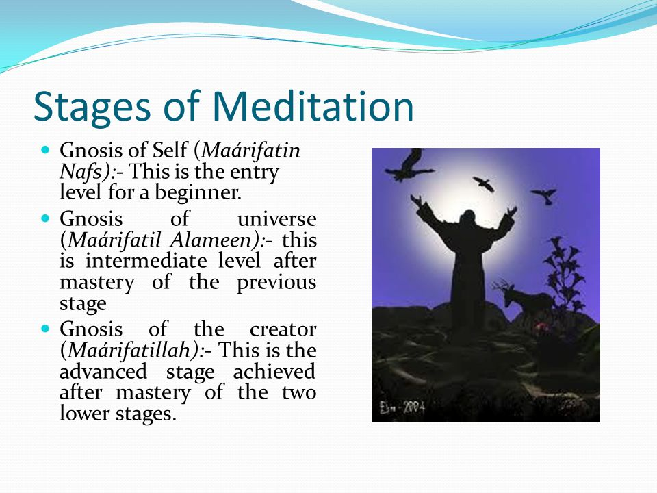 Stages of Meditation Gnosis of Self (Maárifatin Nafs):- This is the entry level for a beginner.