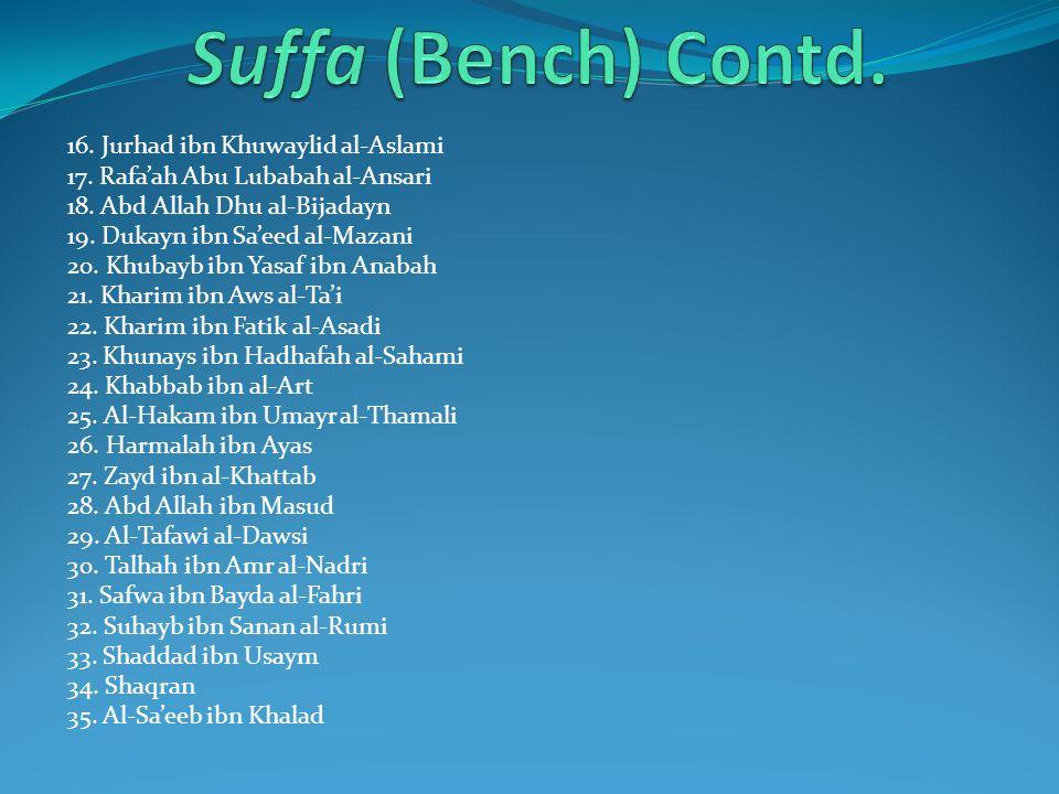 Suffa (Bench) Contd. 16. Jurhad ibn Khuwaylid al-Aslami