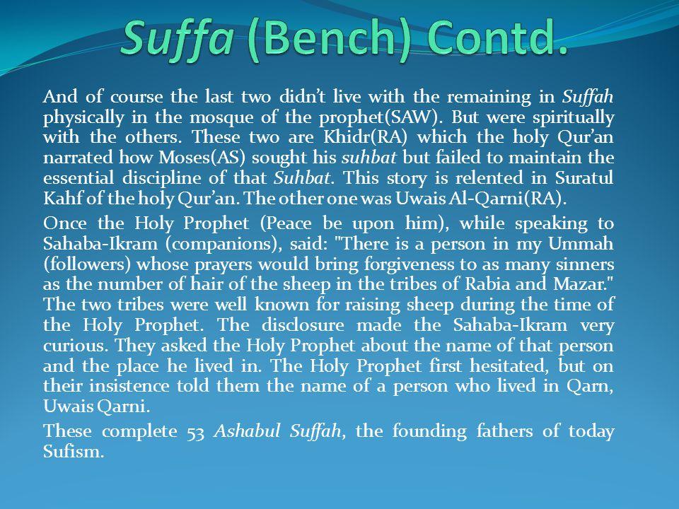 Suffa (Bench) Contd.