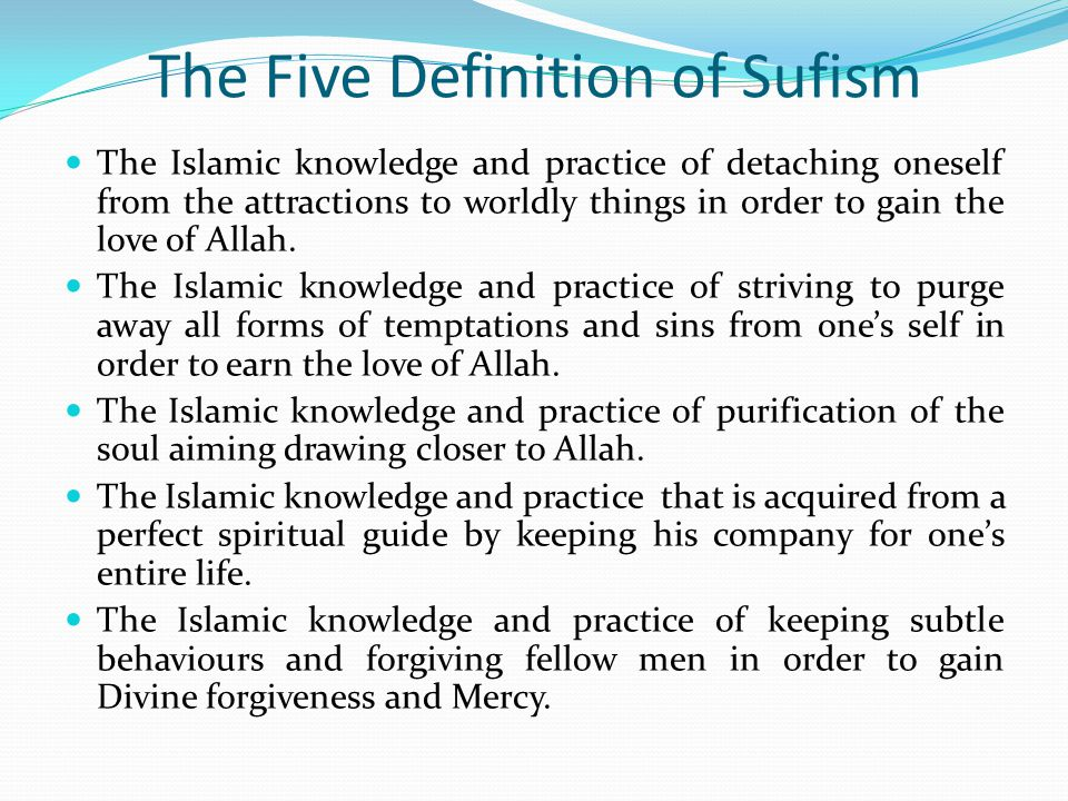 The Five Definition of Sufism