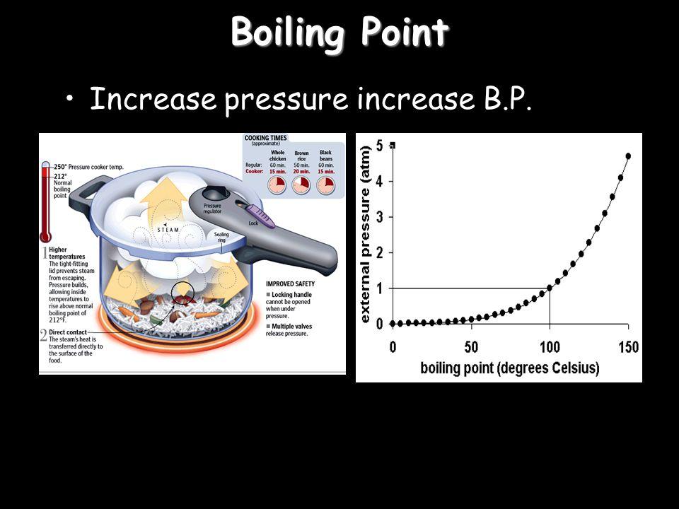 Boiling Point Increase pressure increase B.P.