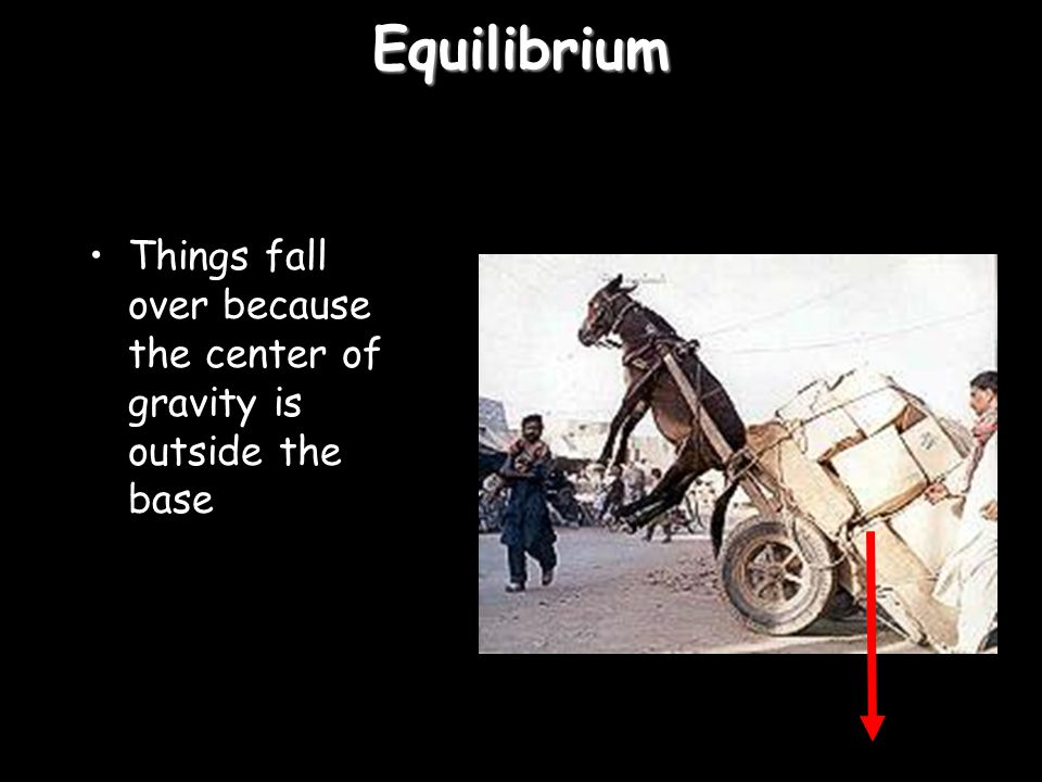 Equilibrium Things fall over because the center of gravity is outside the base