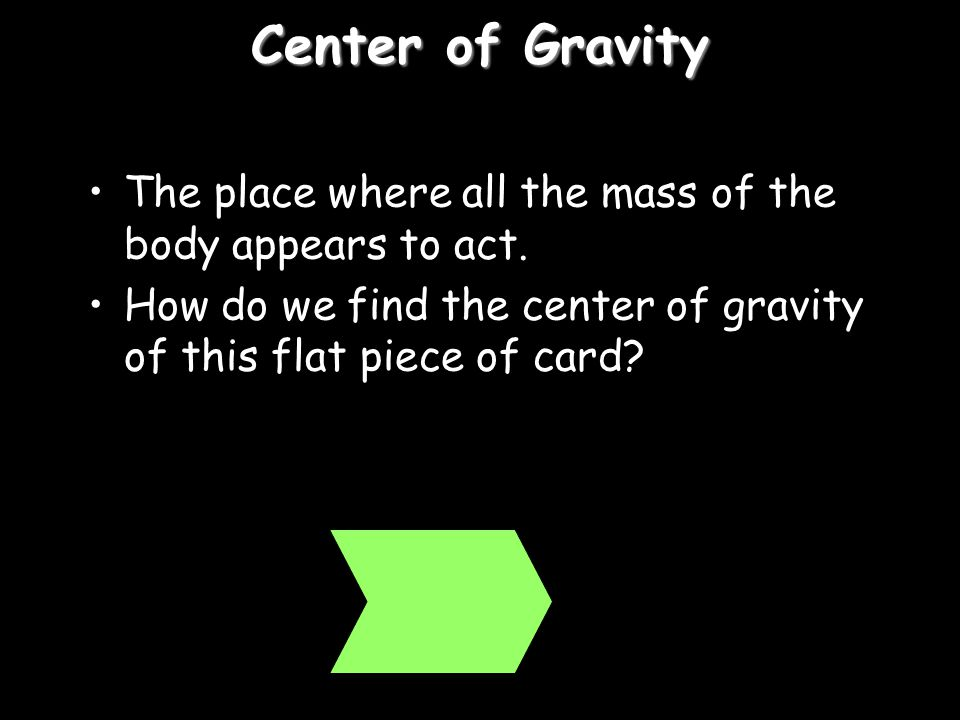 Center of Gravity The place where all the mass of the body appears to act.