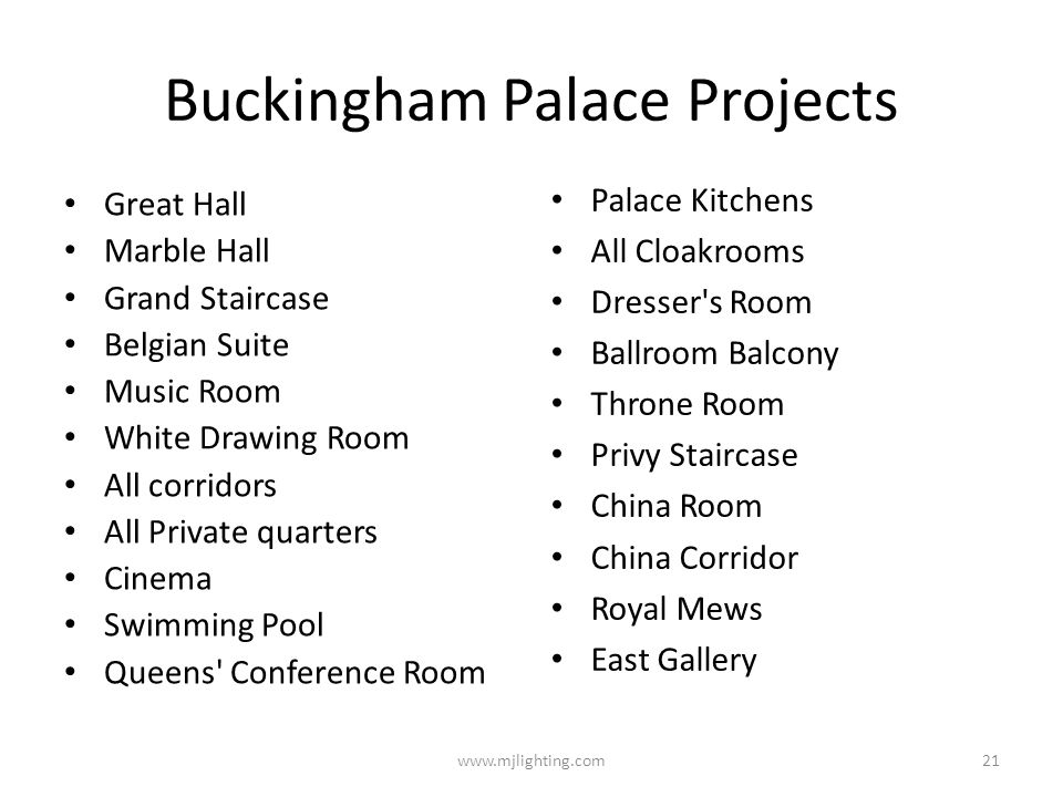 Buckingham Palace Projects