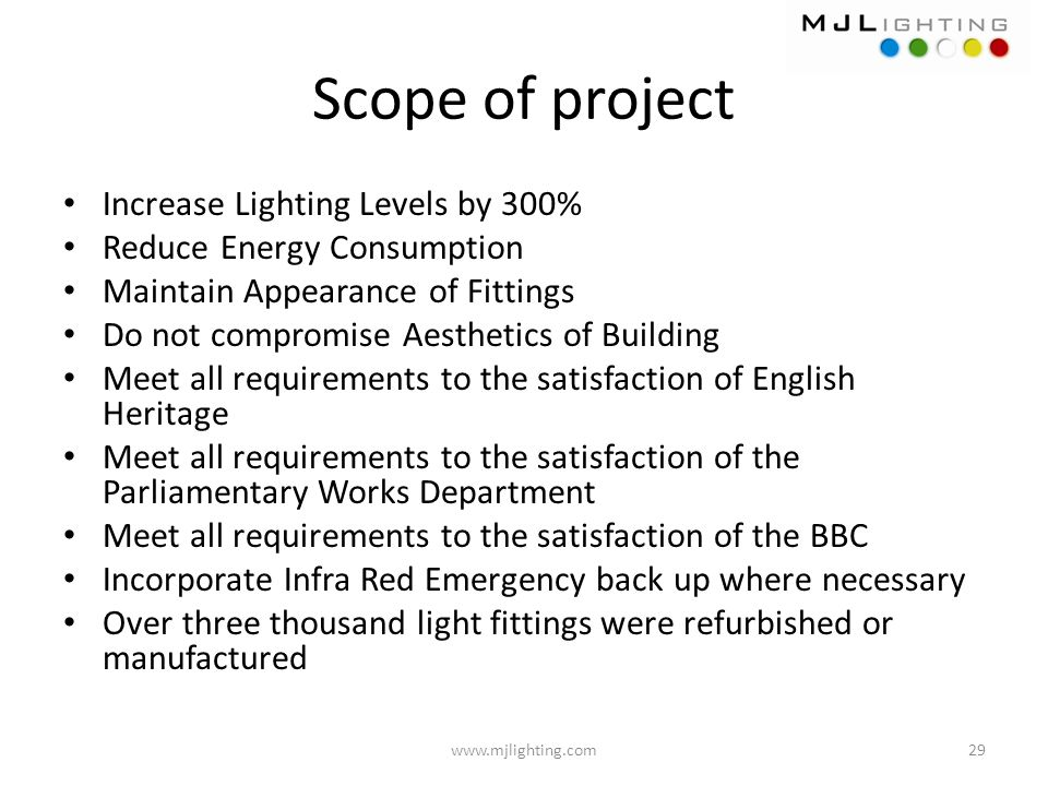 Scope of project Increase Lighting Levels by 300%