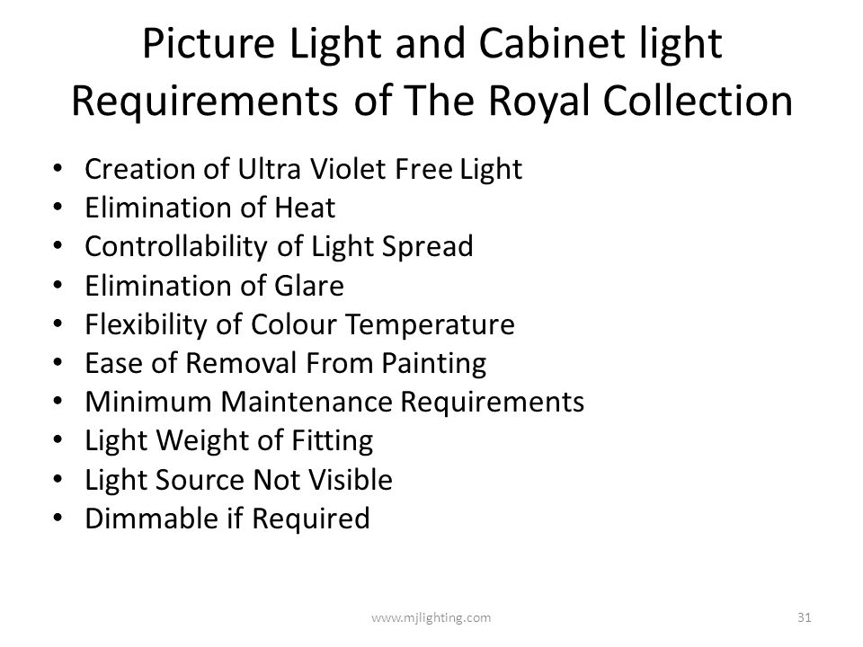 Picture Light and Cabinet light Requirements of The Royal Collection