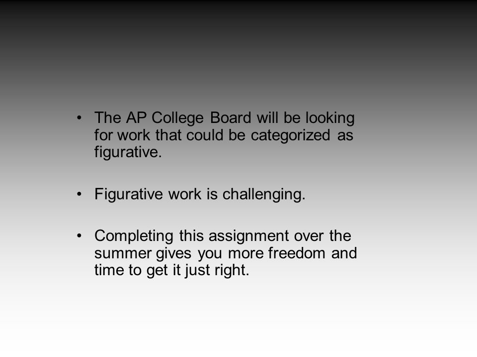 The AP College Board will be looking for work that could be categorized as figurative.