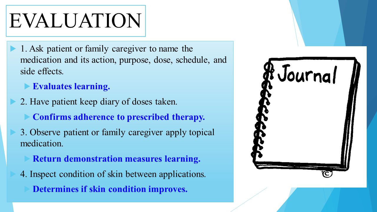 EVALUATION 1. Ask patient or family caregiver to name the medication and its action, purpose, dose, schedule, and side effects.