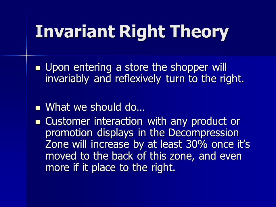 Invariant Right Theory