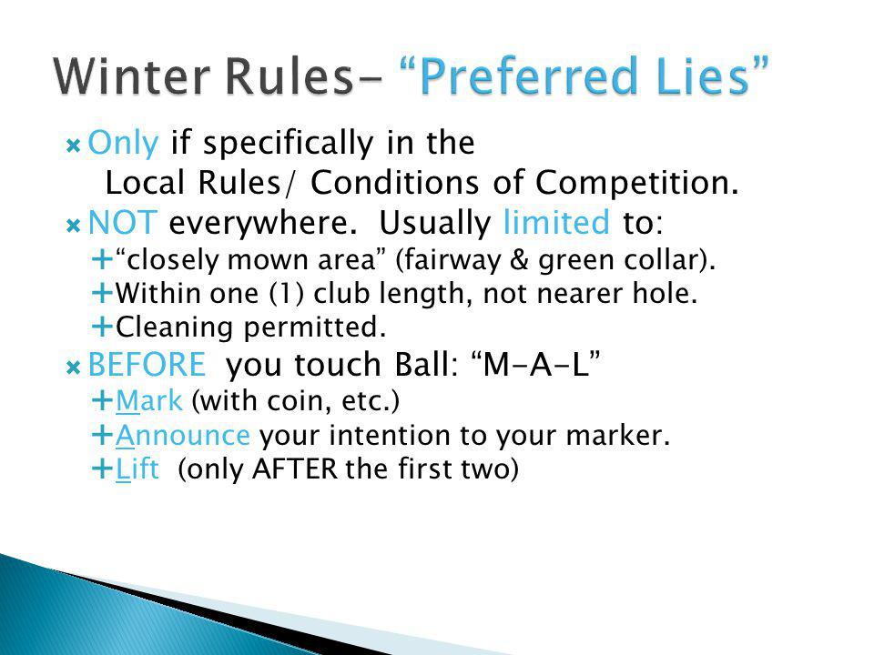 Winter Rules- Preferred Lies