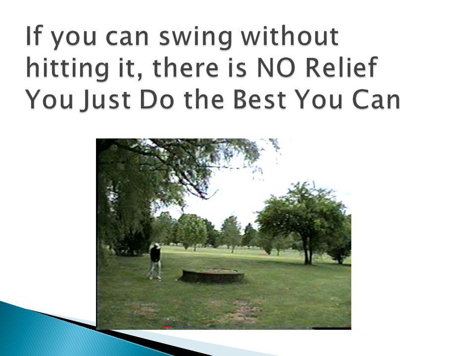 If you can swing without hitting it, there is NO Relief You Just Do the Best You Can
