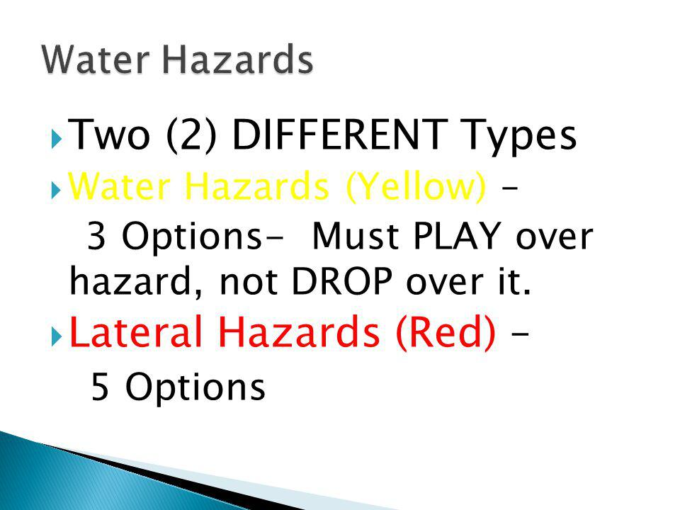 Lateral Hazards (Red) – 5 Options