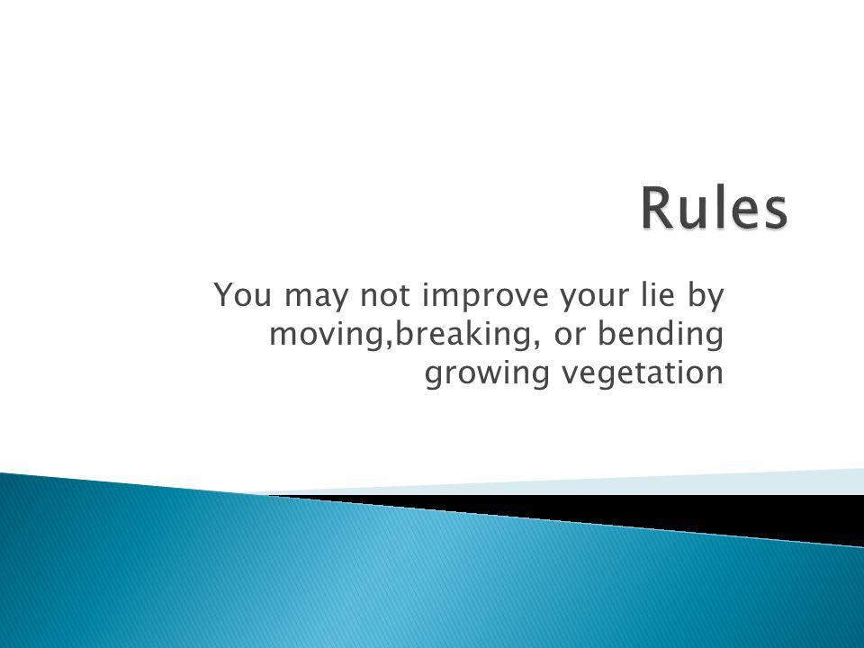 Rules You may not improve your lie by moving,breaking, or bending growing vegetation
