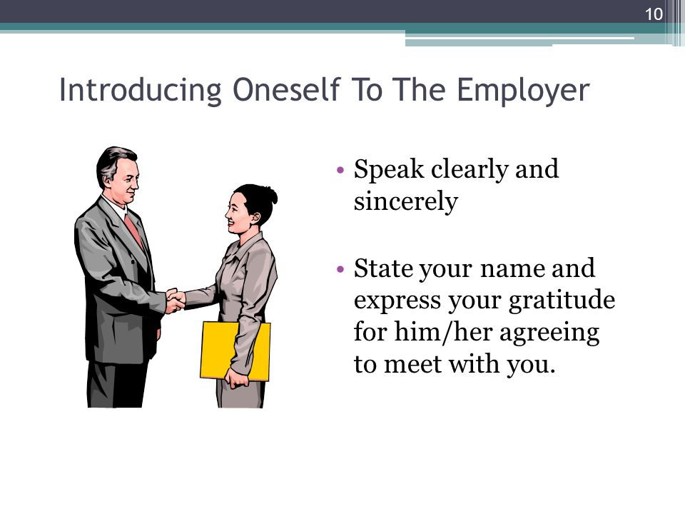 Introducing Oneself To The Employer
